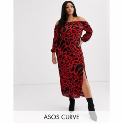 エイソス ASOS Curve レディース ワンピース ミドル丈 ワンピース・ドレス asos design curve leopard print bardot plisse midi dress