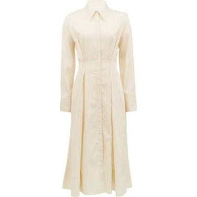 Ssone レディース ワンピース シャツワンピース ワンピース・ドレス Balance pleated striped-satin midi shirt dress Cream