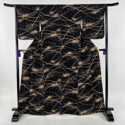 小紋 美品 秀品 笹 幾何学 金彩 黒 袷 身丈165cm 裄丈64.5cm M 正絹 【中古】 PK60
