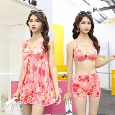 ビキニ水着レディース 夏 ビキニ3点セット水着 体型カバー 韓国風 花柄 小胸バンドゥビキニ セパレート 40代 可愛い スイムウェア 温泉