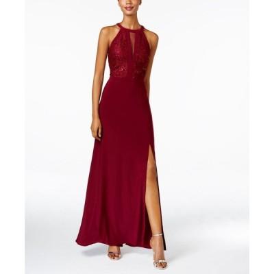 ナイトウェイ Nightway レディース パーティードレス ワンピース・ドレス Lace Halter Gown Merlot