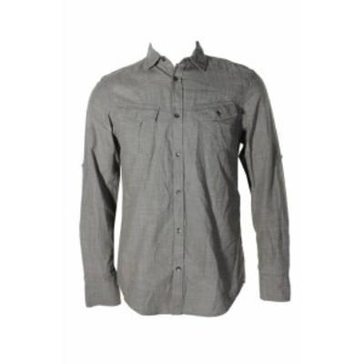 Pocket  ファッション アウター Inc International Concepts Olive Textured Utility Pocket Button Down Shirt S