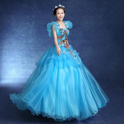 オフショルダードレス セクシーなオープンバック 編み上げタイプ ブルー チュチュドレス ウェディングドレス ワンピースda492f0f0q1