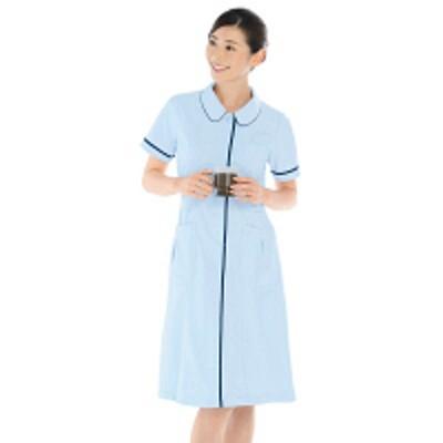 KAZENKAZEN ワンピース半袖 (ナースワンピース) 医療白衣 サックスブルー(水色)×ネイビー S 022-21(直送品)