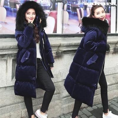 中綿コートレディースロング丈暖かい冬おしゃれベルベット光沢感袖袖口リブ冬アウター