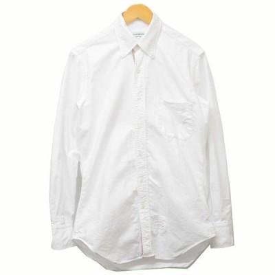 【4月26日値下】THOM BROWNE トリコロールプリント ボタンダウンシャツ シャツ ホワイト サイズ:1 (三軒茶屋店)