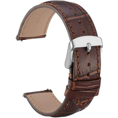 [WOCCI]時計ベルト 22mm クロコダイル型押し本革腕時計バンド Quick Release シルバーバックル(ブラウン/同色系ステッチ)