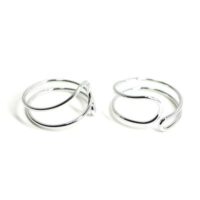 【1個】Circular Twist 光沢シルバーフリーリング、指輪
