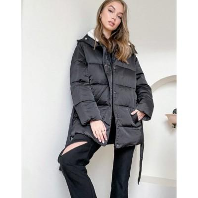 エイソス レディース ジャケット・ブルゾン アウター ASOS DESIGN sateen belted puffer jacket with teddy collar in black