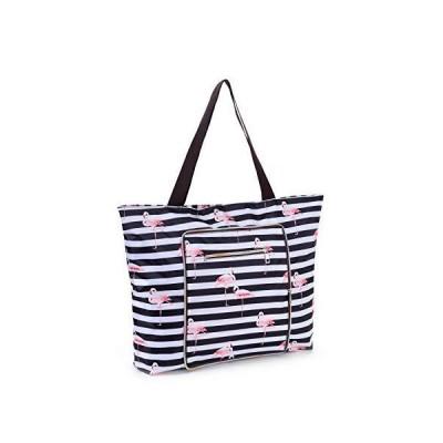 Women Beach Tote Utility Bag with Zipper, Black Stripe Foldable Cute Large Swim pool Waterproof Bag for Travel, Gym, yoga, Mom in Law Female
