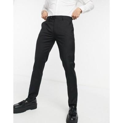 デヴィルズアドボケート メンズ カジュアルパンツ ボトムス Devils Advocate skinny fit tuxedo suit pants Black