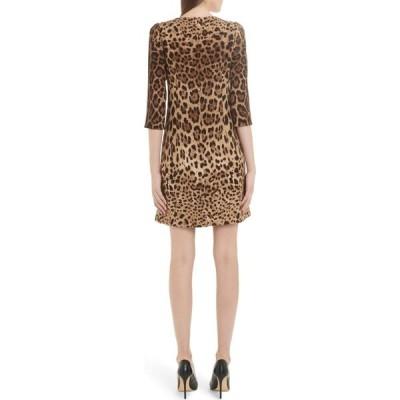 ドルチェ&ガッバーナ DOLCE&GABBANA レディース ワンピース シフトドレス ワンピース・ドレス Leopard Print Cady Crepe Shift Dress Leo