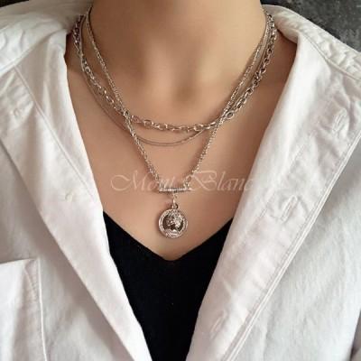 ネックレス レディース シンプル アクセサリー シルバー チェーンネックレス ペンダント ネックレス重ね付け ジュエリー セット