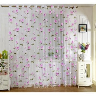 ノーブランド品ホーム 窓 ウィンドウ用 インテリア 薄手 カーテン 花パターン  200 x 100cm  ピンク