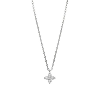 K10ダイヤモンド ミニフラワーネックレス( WG)