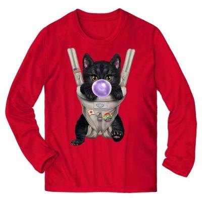 【黒猫 ねこ 抱っこ 抱っこ紐 ガム】メンズ 長袖 Tシャツ by Fox Republic