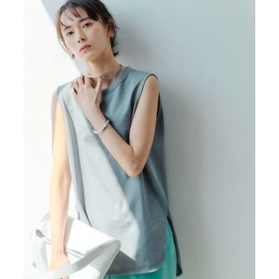 green label relaxing/グリーンレーベル リラクシング [ 1_OF MINE ] FFC GIZA ノースリーブ クルーネック Tシャツ <フリーサイズ> LT.BLUE FREE