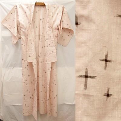 美品『USED』単衣 みちのく てんまり ピンク 十字絣模様   正絹 着物  和装