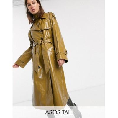 エイソス ASOS Tall レディース トレンチコート アウター ASOS DESIGN Tall vinyl trench coat in khaki カーキ