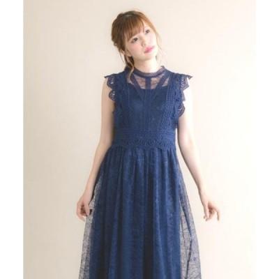 ドレス フレンチスリーブレースドレス(9R04-A1879)