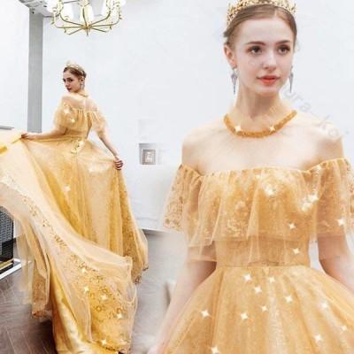 レディース ドレス 結婚式 パーティー 演奏会 ゴールド Aライン ハイネックライン ボートネック 半袖  透け感 ロングドレス 二次会 大きいサイズ