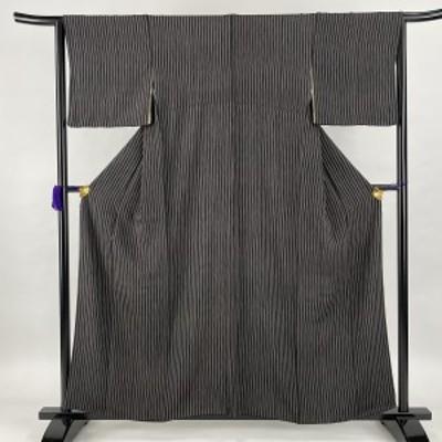 小紋 美品 秀品 縦縞 黒灰 袷 身丈159cm 裄丈64.5cm M 正絹 中古