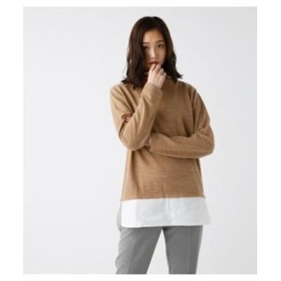 AZUL BY MOUSSY 裾シャツ ドッキング タートルネック プルオーバー ベージュ Sサイズ azul00030