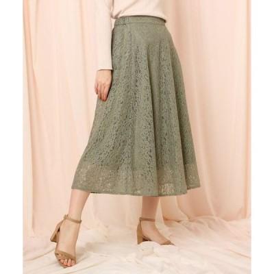Couture Brooch / クチュールブローチ 【洗える】フラワーレースフレアスカート