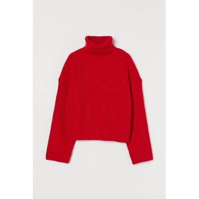 H&M - リブニットタートルネックセーター - レッド