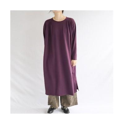 肩ギャザー裏毛ゆったりワンピース (ワンピース)Dress