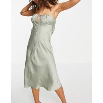エイソス レディース ワンピース トップス ASOS DESIGN satin bias cut midi slip dress with ruched bust detail in olive Olive