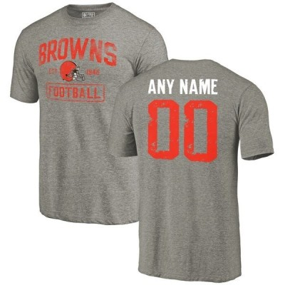 ファナティクス ブランデッド メンズ Tシャツ トップス Cleveland Browns NFL Pro Line by Fanatics Branded Distressed Personalized Tri-Blend T-Shirt