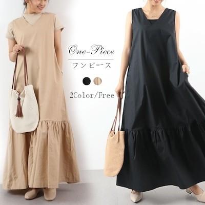 自社生産/韓国ファッション/ワンピース レディース マキシ 半袖 ロング 大きいサイズ Vネック 無地 おしゃれ 可愛い ブラック