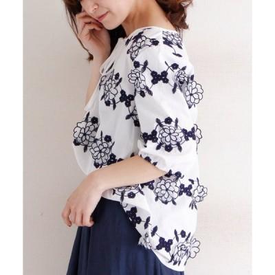 シャツ ブラウス 花の刺繍モチーフシャツトップス