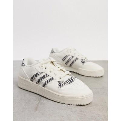 アディダスオリジナルス レディース スニーカー シューズ adidas Originals Rivalry Low sneaker in zebra print White