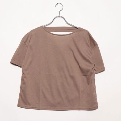 スタイルブロック STYLEBLOCK 二重地天竺バックドレープTシャツ (ベージュ)