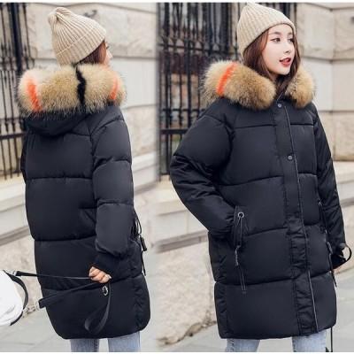 送料無料  レディース 中綿コート アウター コート 暖かい 防寒 ジャケット ポケット 綿入れ 長い ブラック レッド ファション