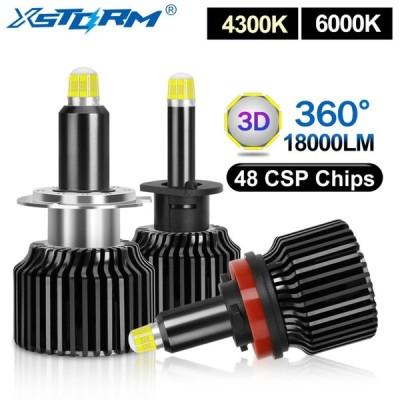 360度車ヘッドライト 2個 48csp H1 H3 H7 led電球H8 H11 9005 HB3 9006 HB4 canbus 3D 18000LM自動フォグランプターボled H7
