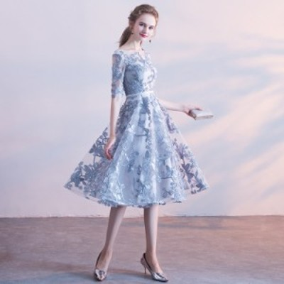 パーティードレス 安い 可愛い イブニングドレス 披露宴 結婚式 2次会 発表会 演奏会 ドレス ミディドレス シアー レース