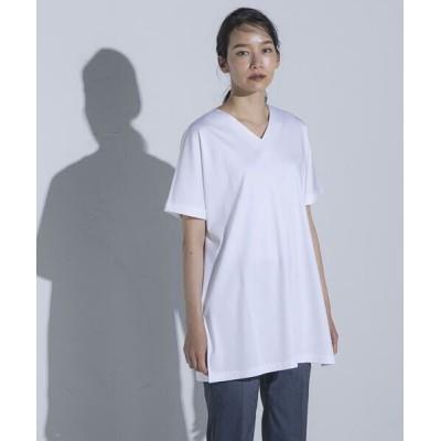 la.f.../ラ・エフ 【大人のための上質Tシャツコレクション】Vネックチュニックカットソー ホワイト 7号