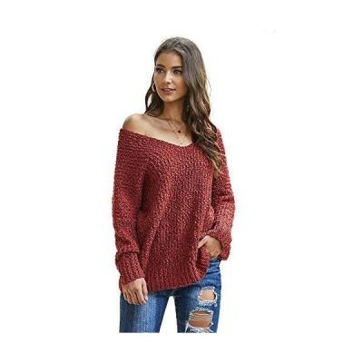 WAYATI Women Sweater Sleeve Long Neck Pullover Fall Sweaters Sexy V-Neck Pu