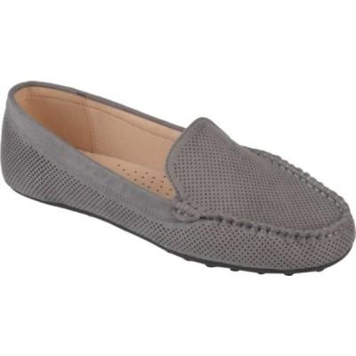 ジャーニーコレクション レディース サンダル シューズ Halsey Moc Toe Perforated Loafer Grey Perforated Faux Suede