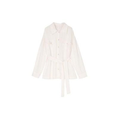 ユアーズ ur's 麻混CPOシャツジャケット (ホワイト)