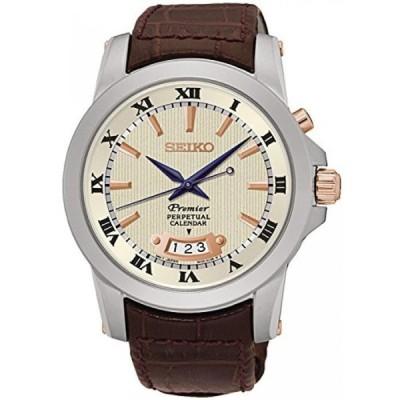 腕時計、アクセサリー セイコー アストロン グランドセイコー Seiko Men's Premier Perpetual 41.5mm Brown Leather Band Steel Case Quartz Cream Dial Analog