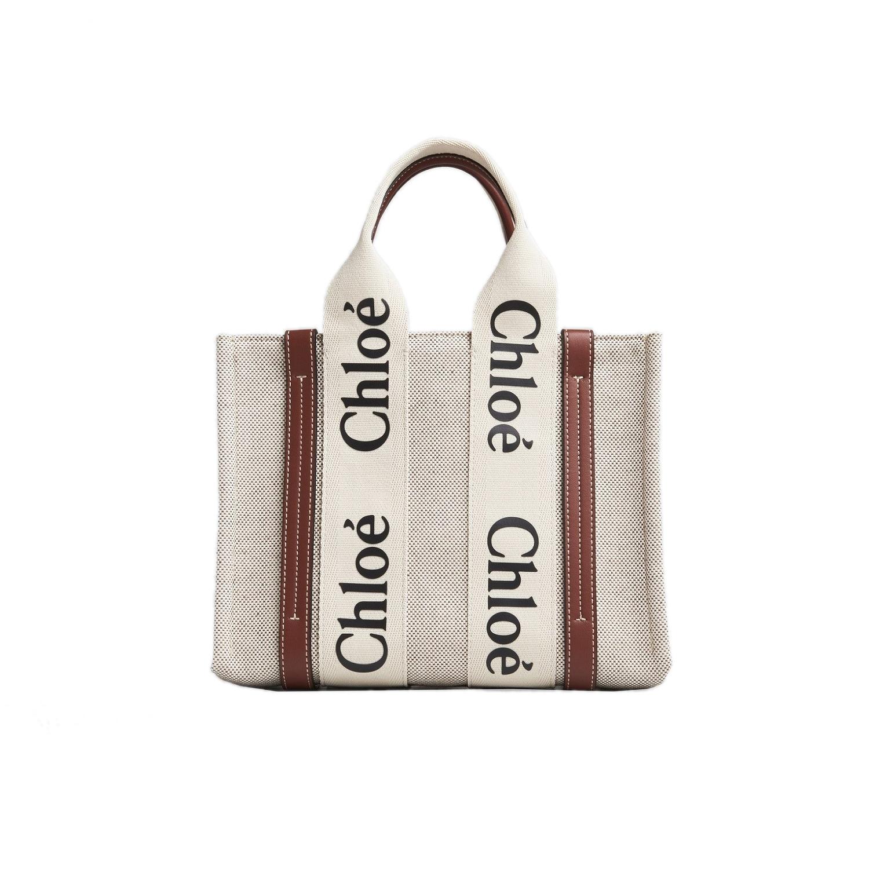 Chloé Woody咖啡色皮革飾邊小型托特包