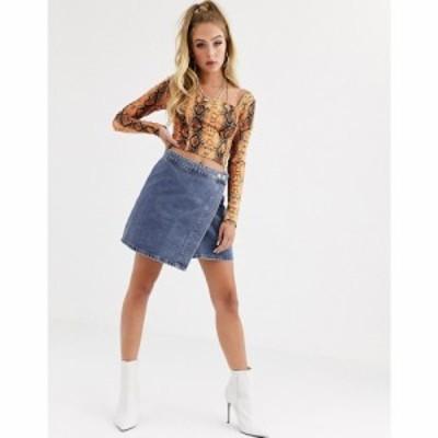 エイソス ASOS DESIGN レディース スカート デニム ラップスカート denim wrap skirt in stonewash blue ブルー