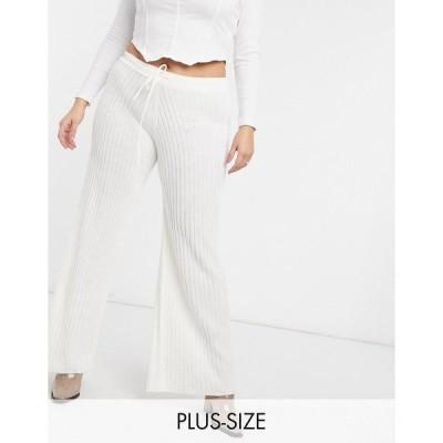 イン ザ スタイル プラス レディース カジュアルパンツ ボトムス In The Style Plus x Lorna Luxe lullaby coordinating ribbed wide leg pants in ecru Ecru