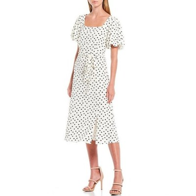 ギブソンアンドラティマー レディース ワンピース トップス Square Neck Puff Ruched Sleeve Tie Waist Front Slit Polka Dot Crepe Midi Dress