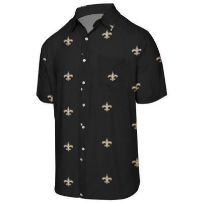 ユニセックス スポーツリーグ フットボール New Orleans Saints Mini Print Logo Woven Button-Up Shirt - Black Tシャツ