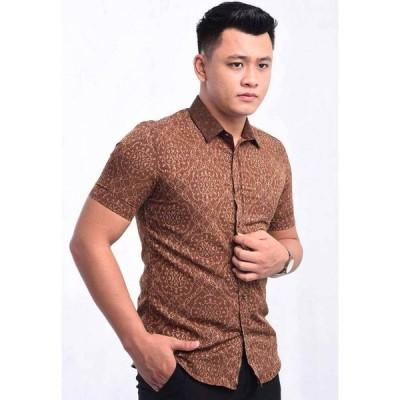 バティックハウス Batik House My メンズ 半袖シャツ トップス Short Sleeve Shirt Batik Bhrbs12-081 (Brown) BROWN